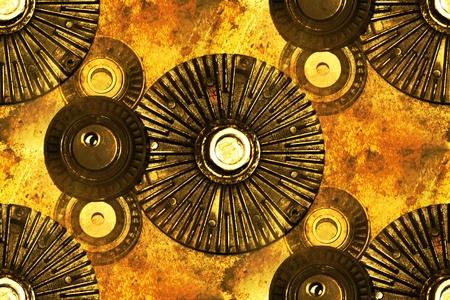 poleas: piezas abstractas: embrague del ventilador, poleas de tensoresdesviaci�n Foto de archivo