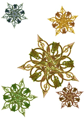 antique metalwork as stars, medallions, background photo