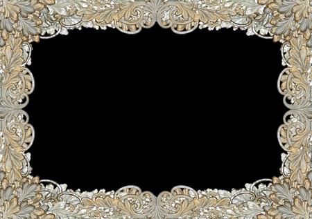 Antique leaf, scroll-work pattern as ornate frame photo