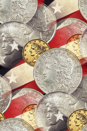 Liberty faces on stars & stripes grunge vintage background. Morgan silver dollar, gold 5 dollar Liberty Half Eagle, silver Peace dollar  photo