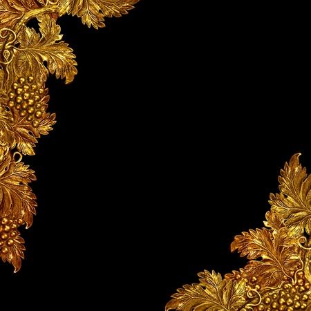 vintage brass grapevine detail as background, border photo