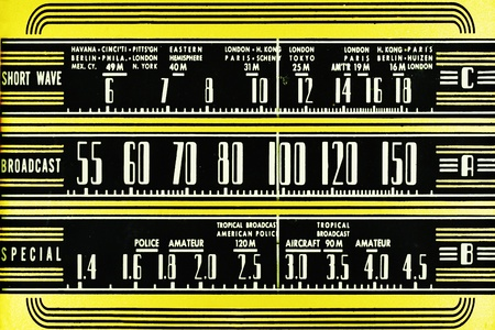 airwaves: Vintage radio dial Stock Photo