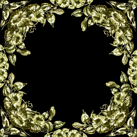 antique silver floral design as border, frame Stock Photo - 11930556
