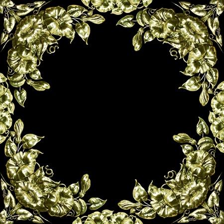 antique silver floral design as border, frame Stock Photo - 11930556