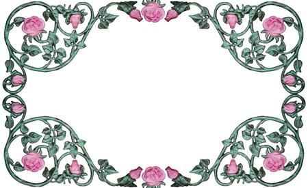 vintage wrought iron rose vine design as border, frame