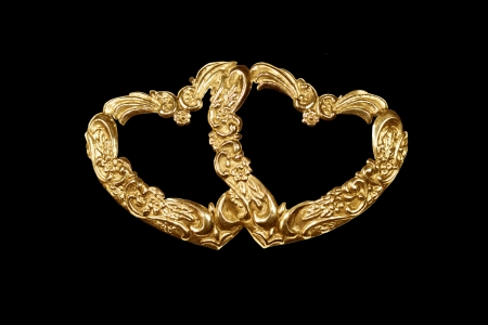 entwined: Two hearts  antique repousse entwined hearts as frames or design element Stock Photo