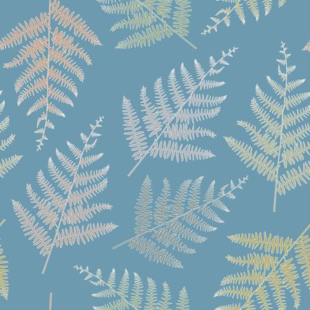 Vector Ferns in Earthy Gold Green Brown Blue Seamless Repeat Pattern Illustration
