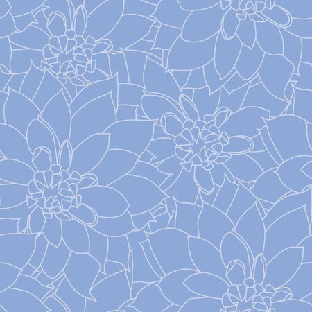 Vector Blue Dahlia Floral Texture Seamless Repeat Pattern