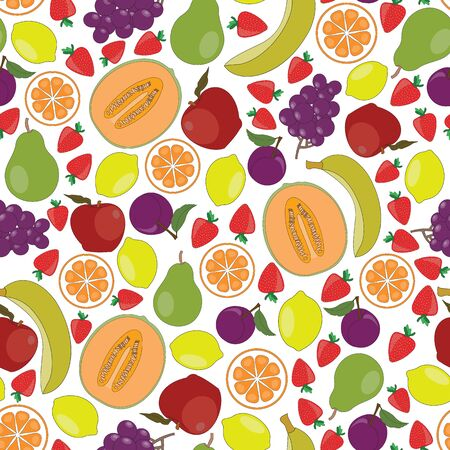 Vector Fruit Apples Oranges Grapes Strawberries Pears Bananas Cantaloupe Lemons Plums on White Seamless Repeat Pattern