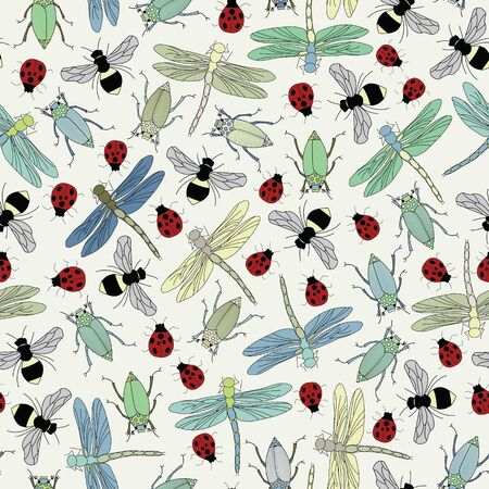Vector Brown Green Blue Red Bugs Insects on Beige Seamless Repeat Pattern