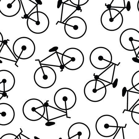 Vector bicicletas bicicletas negras sobre fondo blanco sin fisuras patrón de repetición Ilustración de vector