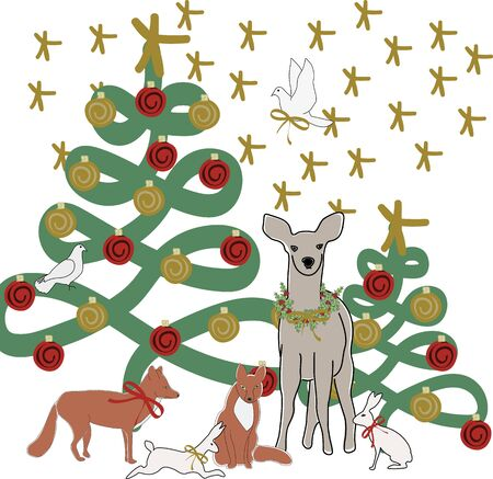 Vector Christmas Tree with Deer Fox Rabbits Doves and Stars Illustration Banque d'images - 130481886