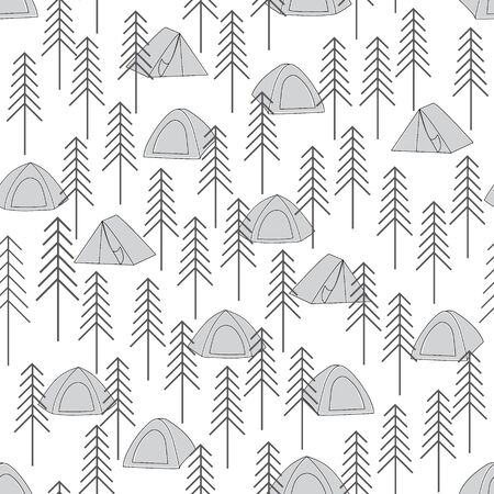 Vector Gray Camping Tents in the Woods Seamless Repeat Pattern