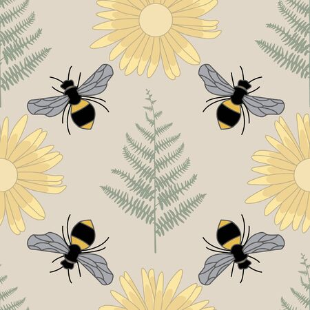 Vector Bees Ferns Yellow Flowers on Beige Brown Seamless Repeat Pattern