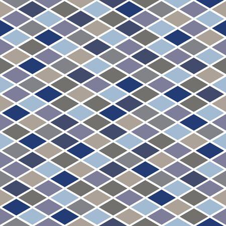 Vector Blue Brown Beige Gray Purple Diamonds Seamless Repeat Pattern