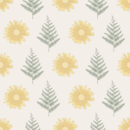 Vector Green Ferns and Yellow Flowers on Beige Brown Seamless Repeat Pattern