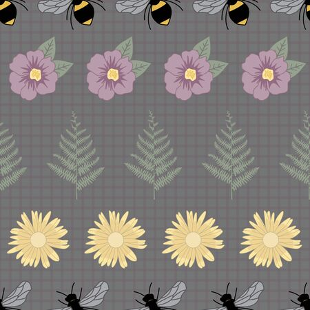 Vector Bees, Green Ferns, Purple Yellow Flowers on Dark Green Seamless Repeat Pattern