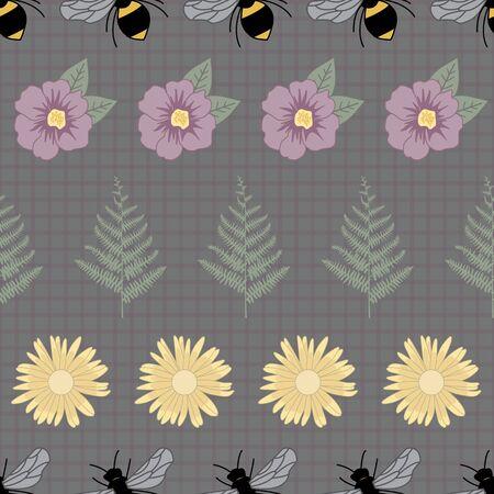 Vector Bees, Green Ferns, Purple Yellow Flowers on Dark Green Seamless Repeat Pattern