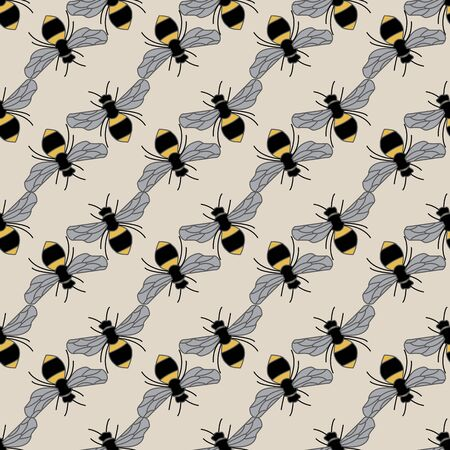 Vector Yellow and Black Bees on Beige Brown Seamless Repeat Pattern
