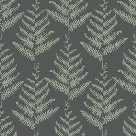 Vector Green Ferns on Dark Green Seamless Repeat Pattern  イラスト・ベクター素材