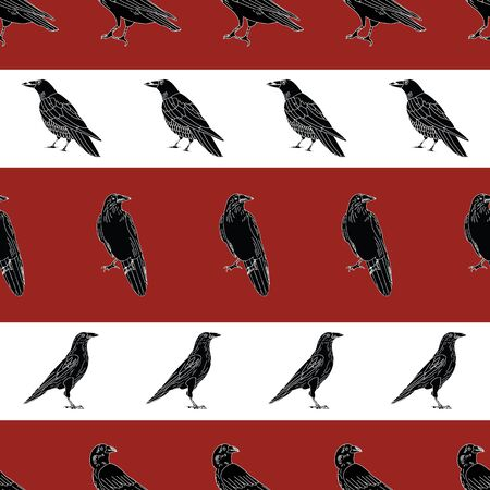 Vector Black Crows Ravens Birds on Red White Stripe Background Seamless Repeat Pattern