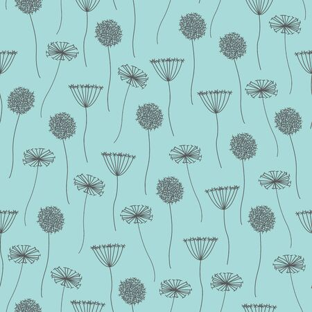 Vector Gray Grey Abstract Dandelions on Teal Green Seamless Repeat Pattern