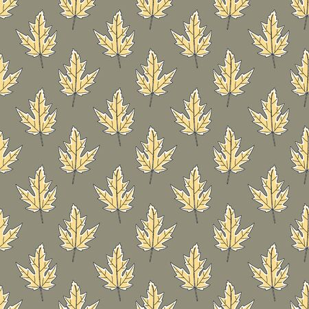 Vector Fall Autumn Leaves in Gold Yellow on Green Seamless Repeat Pattern