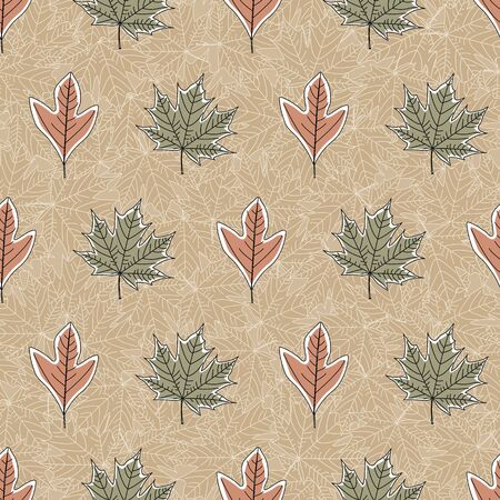 Vector Fall Autumn Leaves in Orange Green on Brown Background Seamless Repeat Pattern Banque d'images - 130482315