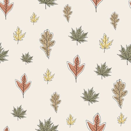 Vector Fall Autumn Leaves in Orange Gold Green Brown on Beige Seamless Repeat Pattern Banque d'images - 130482348