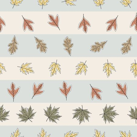 Vector Fall Autumn Leaves in Orange Gold Green Brown on Stripes Seamless Repeat Pattern Banque d'images - 130482356