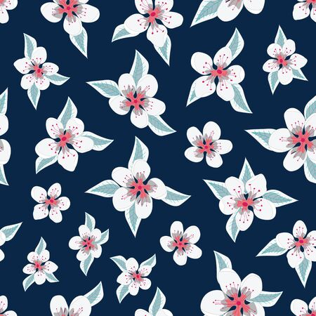 Vector Coral White Gray Flowers with Green Leaves on Navy Blue Background Seamless Repeat Pattern