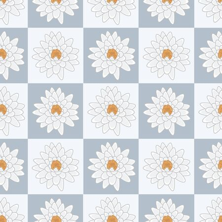 Vector White and Orange Water Lily Flowers on Blue Squares Seamless Repeat Pattern. Background for textiles, cards, manufacturing, wallpapers, print, gift wrap and scrapbooking.