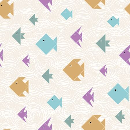 Vector Blue, Green, Yellow, Purple Fish on Beige Background Seamless Repeat Pattern. Background for textiles, cards, manufacturing, wallpapers, print, gift wrap and scrapbooking. Illustration