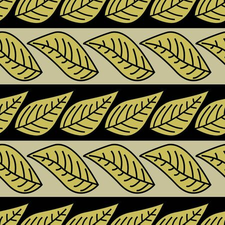 Vector Green Leaves on Green and Black Stripes Seamless Repeat Pattern. Background for textiles, cards, manufacturing, wallpapers, print, gift wrap and scrapbooking. Vector illustration and jpeg for surface design. Stok Fotoğraf - 132310171
