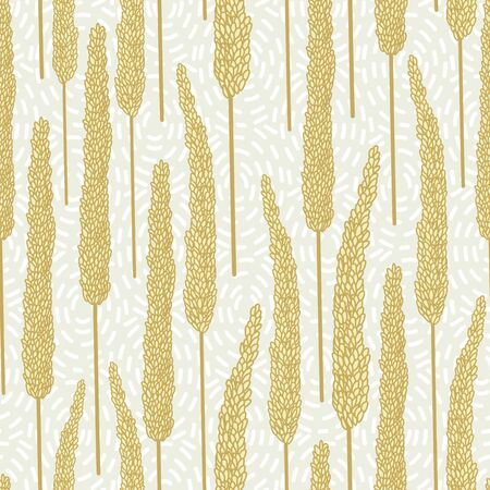 Vector Gold Yellow Fall Grass Plants on Beige Background Seamless Repeat Pattern. Background for textiles, cards, manufacturing, wallpapers, print, gift wrap and scrapbooking. Illusztráció