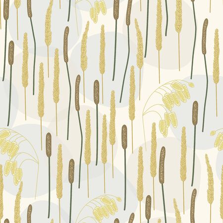 Vector Gold Brown Fall Grass Plants on Beige Gray Background Seamless Repeat Pattern. Background for textiles, cards, manufacturing, wallpapers, print, gift wrap and scrapbooking.