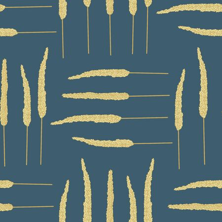 Vector Gold Yellow Fall Grass Plants on Blue Background Seamless Repeat Pattern. Background for textiles, cards, manufacturing, wallpapers, print, gift wrap and scrapbooking. Illusztráció