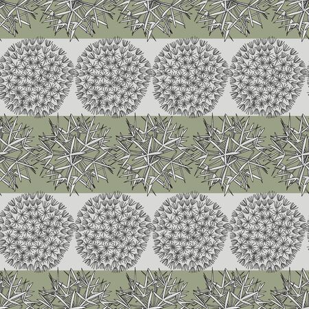 Vector Dandelion Seed Heads on Green and Gray Stripes Seamless Repeat Pattern. Background for textiles, cards, manufacturing, wallpapers, print, gift wrap and scrapbooking.