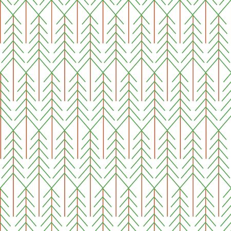 Vector Green Brown Sylized Trees on Whtie Background Seamless Repeat Pattern. Background for textiles, cards, manufacturing, wallpapers, print, gift wrap and scrapbooking.