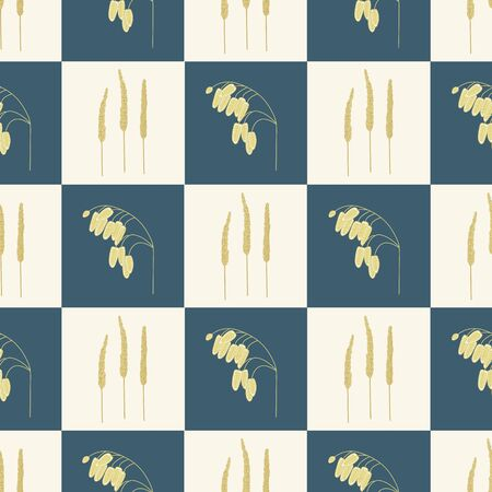 Vector Gold Fall Grass Plants on Beige and Blue Squares Background Seamless Repeat Pattern. Background for textiles, cards, manufacturing, wallpapers, print, gift wrap and scrapbooking.