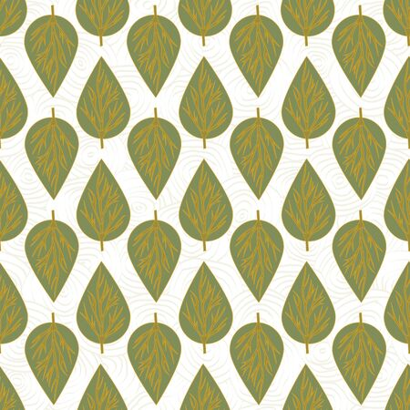 Vector Green and Gold Leaf Leaves on White Background Seamless Repeat Pattern. Background for textiles, cards, manufacturing, wallpapers, print, gift wrap and scrapbooking. Ilustrace
