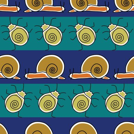 Vector Gold Orange Bugs and Snails on Green and Blue Stripes Seamless Repeat Pattern. Background for textiles, cards, manufacturing, wallpapers, print, gift wrap and scrapbooking.