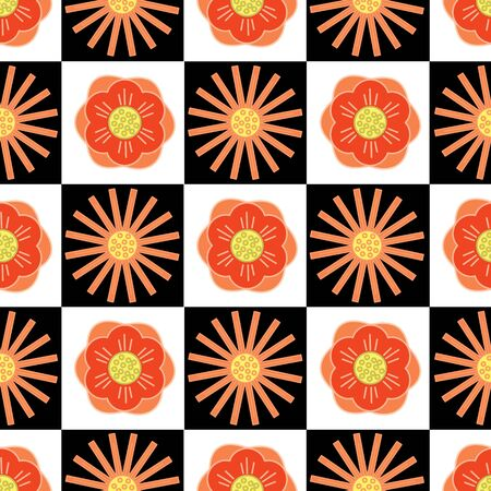 Vector Orange and Yellow Flowers on Black and White Squares Background Seamless Repeat Pattern. Background for textiles, cards, manufacturing, wallpapers, print, gift wrap and scrapbooking.