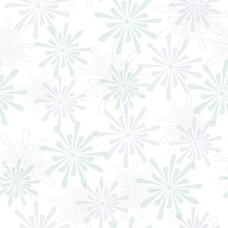 Vector Light Pastel Blue Green Flowers Scattered on a White Background. Background for textiles, cards, manufacturing, wallpapers, print, gift wrap and scrapbooking.