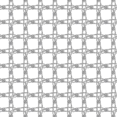 Vector Gray Wire Clips Grid on White Background Seamless Repeat Pattern. Background for textiles, cards, manufacturing, wallpapers, print, gift wrap and scrapbooking. Çizim