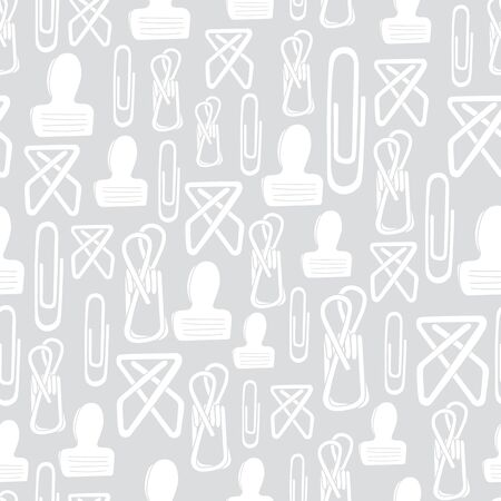 Vector White Clips on Gray Background Seamless Repeat Pattern. Background for textiles, cards, manufacturing, wallpapers, print, gift wrap and scrapbooking.