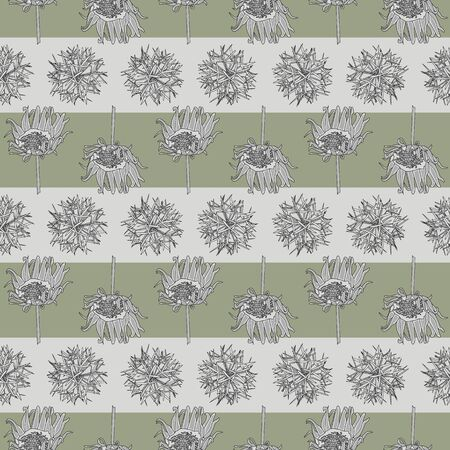 Vector Plants on Gray and Green Stripes Seamless Repeat Pattern. Background for textiles, cards, manufacturing, wallpapers, print, gift wrap and scrapbooking.