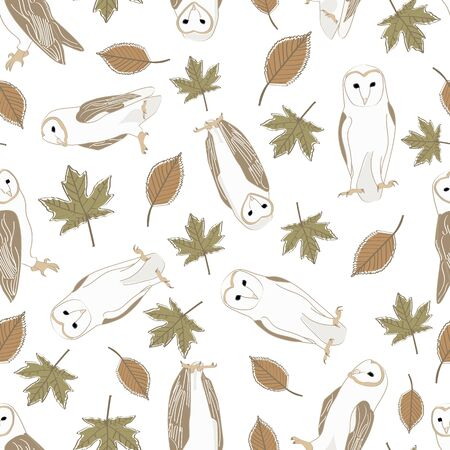 Vector Barn Owls with Brown and Green Leaves on White Background Seamless Repeat Pattern. Background for textiles, cards, manufacturing, wallpapers, print, gift wrap and scrapbooking.