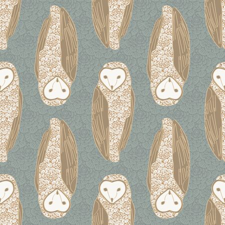 Vector Brown Floral Owls on Green Background Seamless Repeat Pattern. Background for textiles, cards, manufacturing, wallpapers, print, gift wrap and scrapbooking.