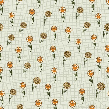 Vector Abstract Orange Yellow Flowers with Green Leaves on Light Green Background Seamless Repeat Pattern. Background for textiles, cards, manufacturing, wallpapers, print, gift wrap and scrapbooking.